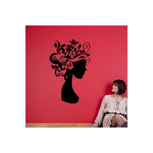 stickers Femme avec des fleurs