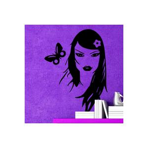stickers Femme et papillon